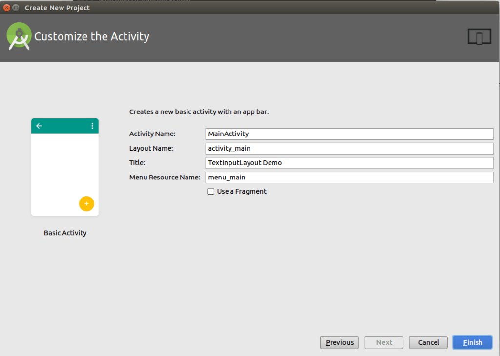customize the activity in your android studio