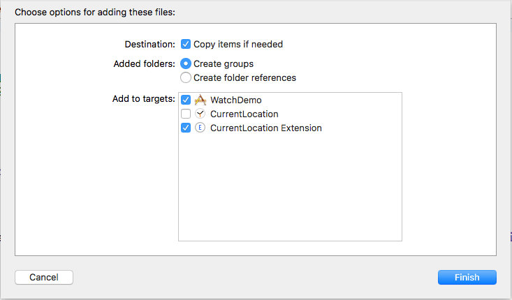 select watchDemo and Current Location Extension