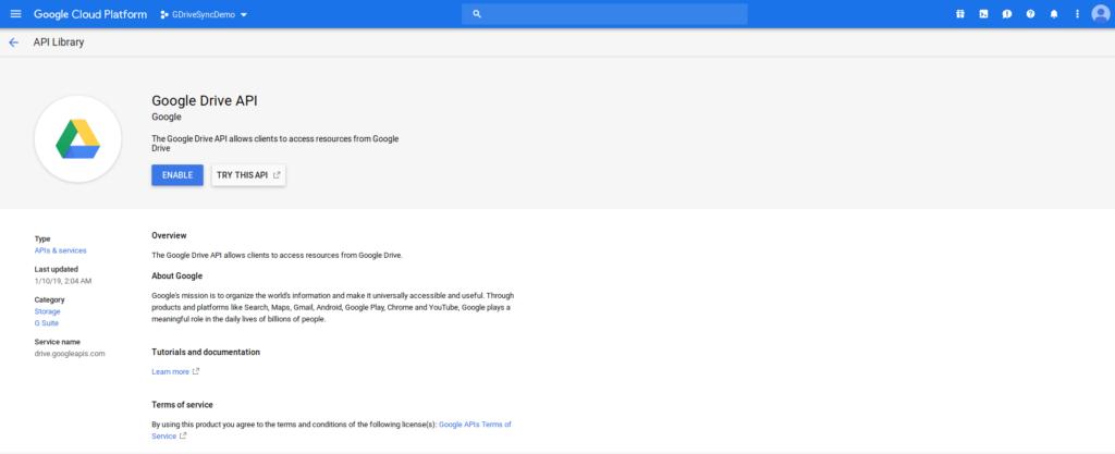 Enable Google Drive API