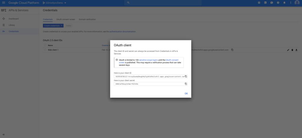 Enter Client ID and Client Secret