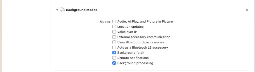 set background modes