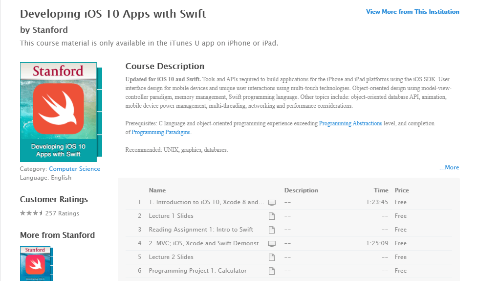 iTunes U Developing iOS 10Apps with Swift