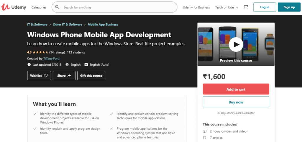 Udemy Windows Phone Mobile App Development