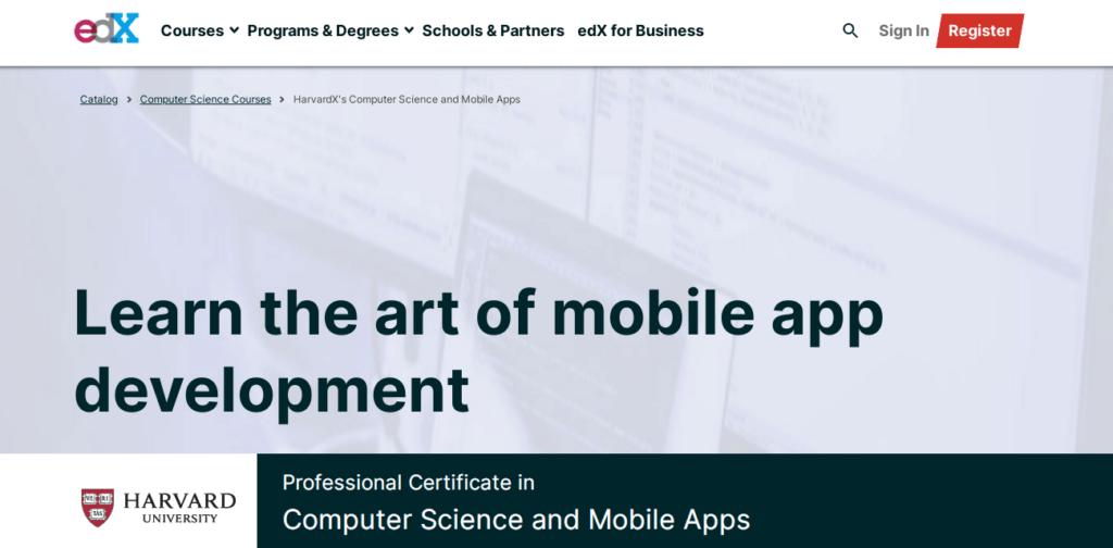 edX Harvard Computer Science Mobile Apps