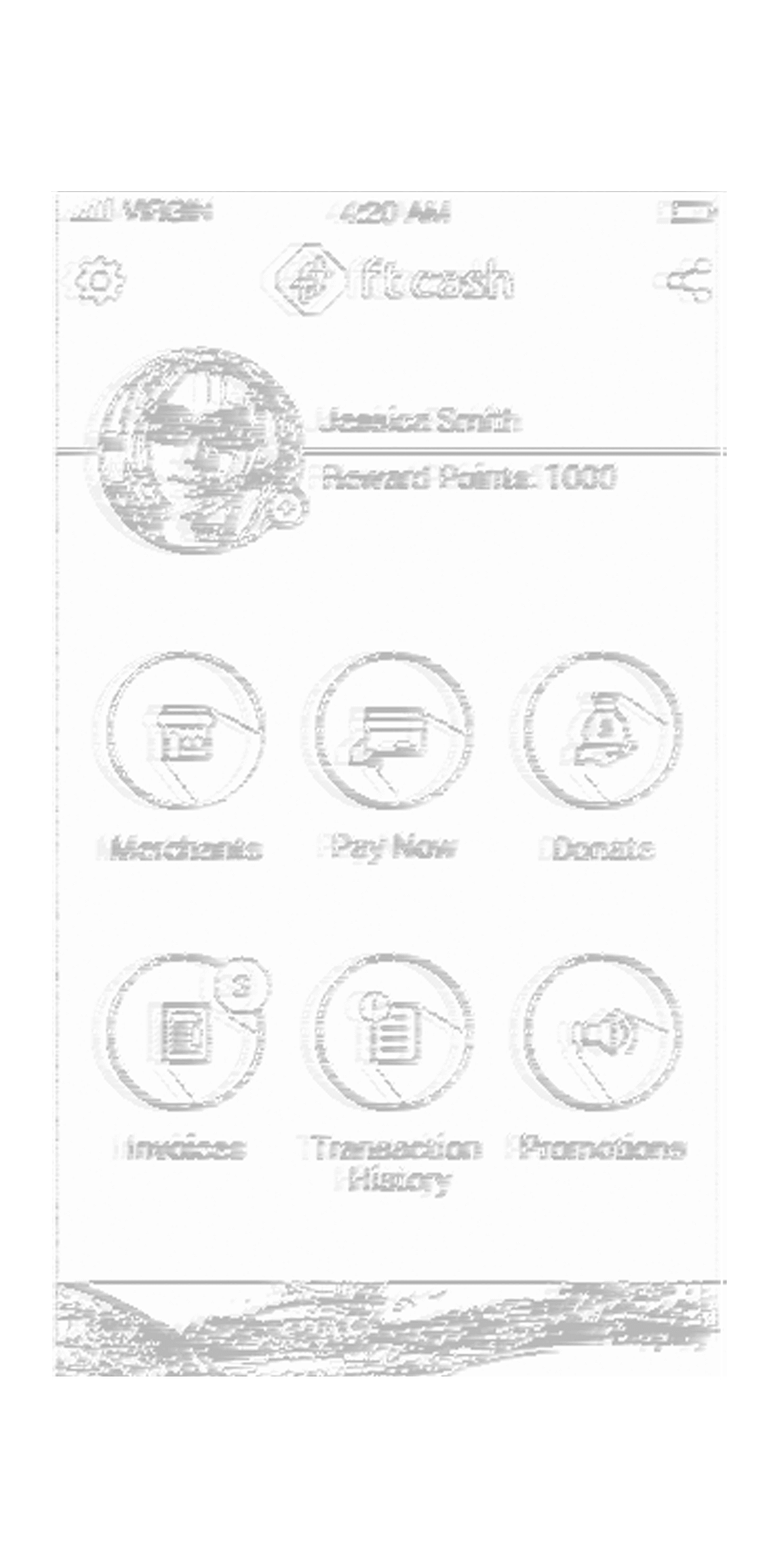 FTCash app wireframe