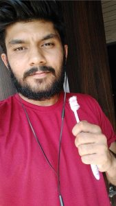 selfie with tooth brush