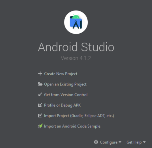 Create new android studio project